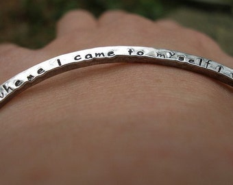 Custom Stamped Bracelet - One Sided Hand Stamped Bangle