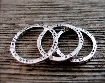 Set of Three Stackable Two Sided Secret Poetry Rings in sterling and new lowercase font