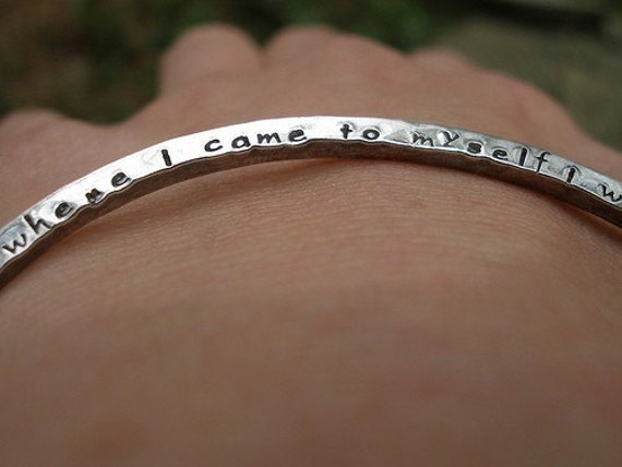 2 Sided Custom Inscription Poetry Bangle in Sterling Silver with new beautiful font