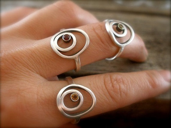 Pebble Ring in Recycled Silver and Natural Gemstone