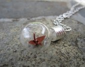Origami Paper Crane Under Glass Necklace, Brown Crane In A Bottle