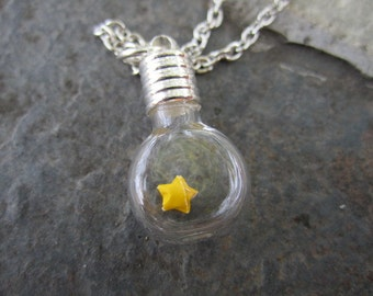 Origami Lucky Star Under Glass Necklace, Yellow Paper Star In Bottle