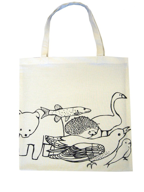 Finnish Animals tote made from recycled fabric