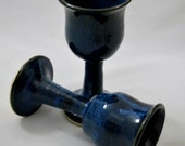 Set of Two Cobalt Blue Wine Goblets Stoneware Clay Pottery