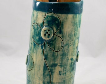 Turquoise and White Vase or Wine Holder Handmade Pottery