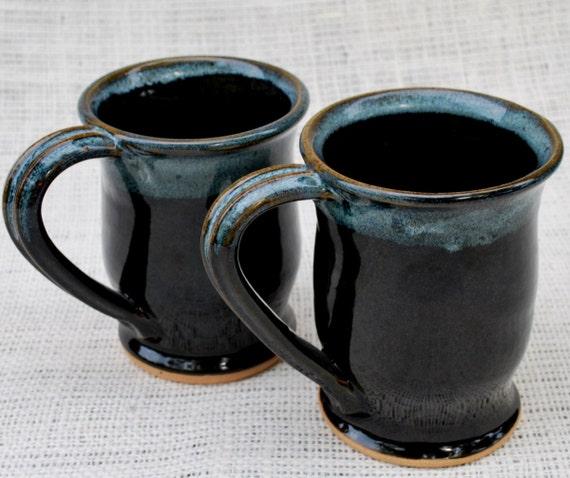 Set of Two Blue on Black Wheel Thrown Stoneware Mugs