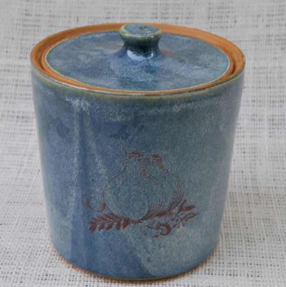 Weathered Blue Decal Lidded Canister Stoneware Pottery Free Shipping