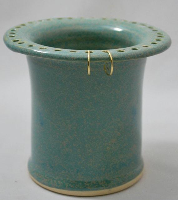 Aqua Green Earring Holder Stoneware Pottery
