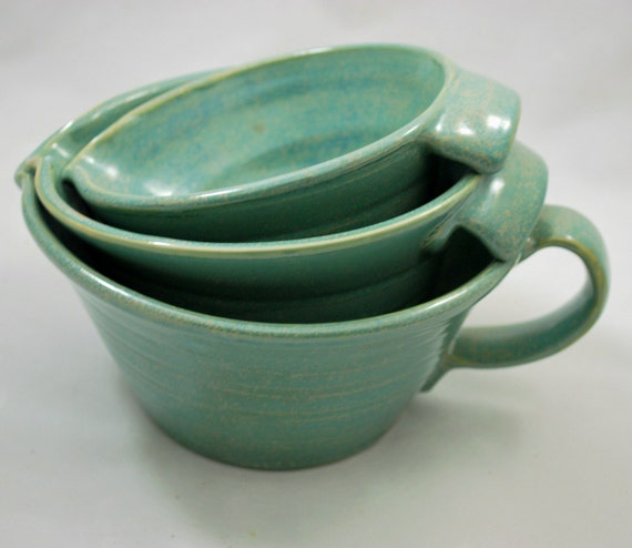 Wedding Registry for StephyMcGill88 Set of Three Aqua Green Nesting Batter Bowls with Handles Stoneware Pottery Free Shipping
