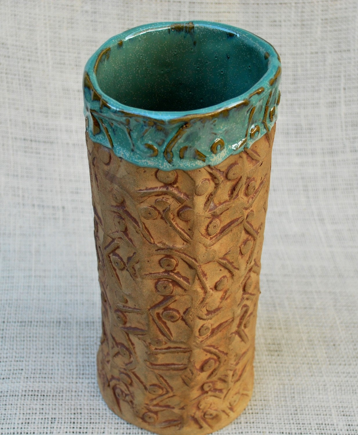 Textured ceramic vase hand built pottery for Pottery vase ideas