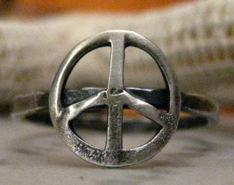 Sterling and Fine Silver Peace Sign Ring