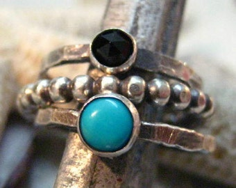 SET - Fine Silver and Sterling Turquoise and Faceted Black Onyx Stacking Ring Set
