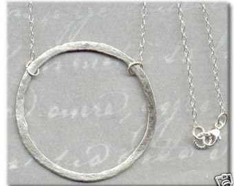 1 1/2 Inch Hammered Fine Silver Circle Necklace 16 Inch
