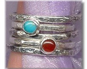 SET -Turquoise Carnelian and Fine Silver Stacking Ring Set