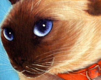 L. Risor Original Oil Painting Siamese Cat Kitten ACEO ATC