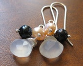 Irina Earrings - Chalcedony, Freshwater Pearls and Sterling Silver