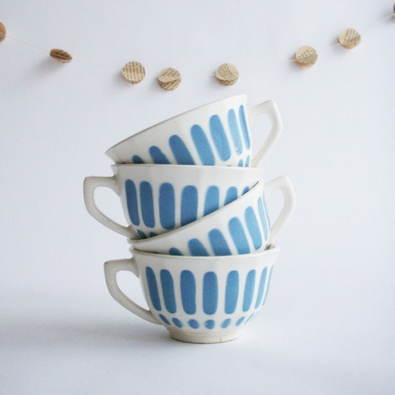 Blue Teacups for 4 - French Vintage
