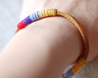 Leather & crochet cotton striped friendship bracelet