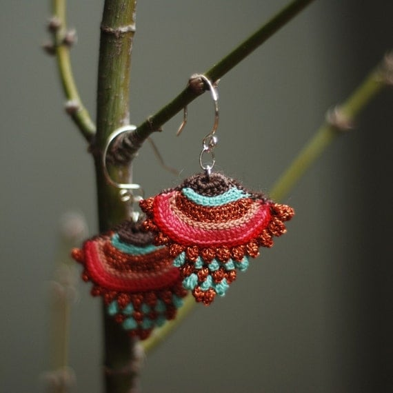 RESERVED--sterling silver and crochet earrings