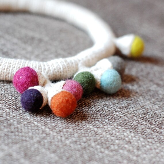 linen choker with spots of color