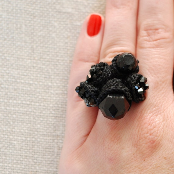 crocheted ring with swarovski crystals