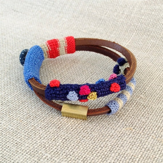 leather and crochet bracelet