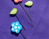 Whimsical Flowers and Leaves Straight Pins