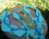 Horton Large Macrame Boho/Hippie Hemp Bib Necklace in sea-foam green, goldenrod orange and bright blue