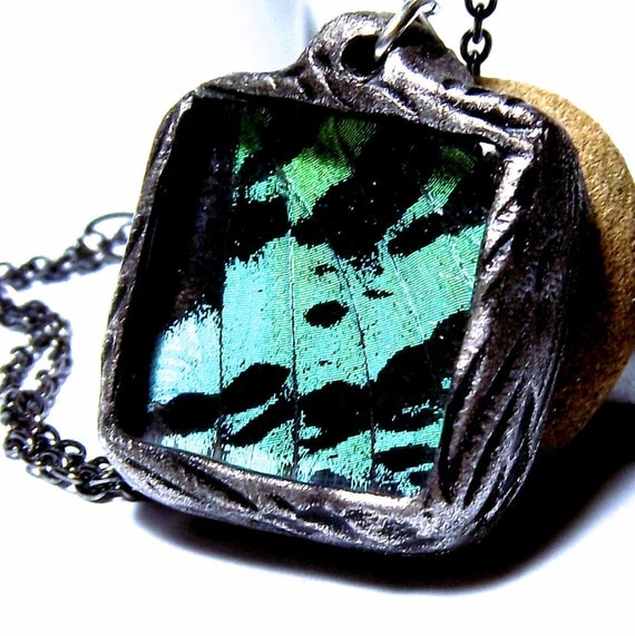 Real Butterfly Wing Necklace Butterfly Jewelry Sunset Moth TWO SIDED Sea Foam Green