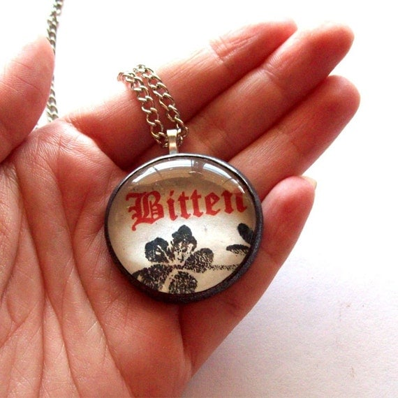 BITTEN Necklace - Larger Version, Black Border, Cherry Blossoms (NEW)