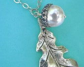 Sterling Silver Large Oak Leaf and Acorn Necklace