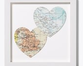 Duo of hearts -vintage maps Unframed