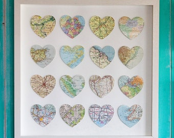 sixteen vintage map hearts - annivesary gift - wedding gift for husband or wife  - couples gift - bombus map gift