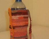 RESERVED - Water Bottle Holder with Shoulder Strap - Oranges  and Browns