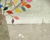 automne 1 - Children Wall Art - digital Illustration - Nursery Art Print - Baby Wall Decor - Poster -Tree - Grey - Colorful  - Girl - Boy