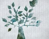 shrub - Art - illustration - Children Wall Art - digital Illustration - Nursery Art Print - Baby Wall Decor - Poster - Bird - Tree - Blue