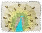 Peacock - art - digital illustration - children  - nursery art print - baby  decor - poster - animal - turquoise blue - green - grey