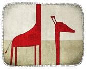 Giraffe - children - digital Illustration - wall art - nursery art print - baby  decor - poster - animal - zoo - red - grey - long neck