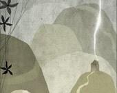 nuit 2 - Art - Print of an original illustration - wall decor - nursery art print - poster - house - mountain -  night - dark