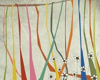 automne 2 - Children Wall Art - digital Illustration - Nursery Art Print - Baby Wall Decor - Poster - Colorful ribbons