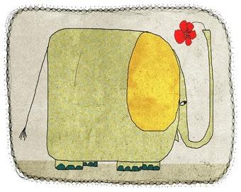 Elephant - children - digital Illustration - wall art - nursery art print - baby  decor - poster - animal - green - gold - yellow - grey
