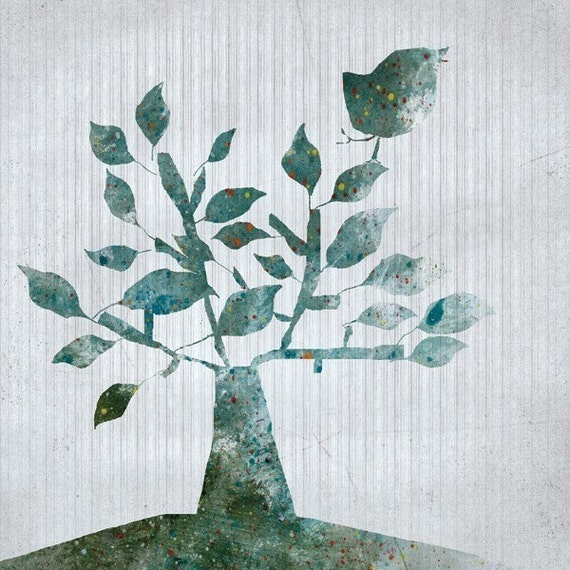 shrub - Art - illustration - Children Wall Art - digital Illustration - Nursery Art Print - Baby Wall Decor - Poster - Bird - Tree - Blue