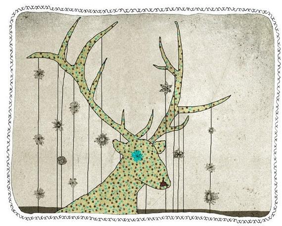 deer - art - illustration - children - digital wall art - nursery art print - baby  decor - poster - animal