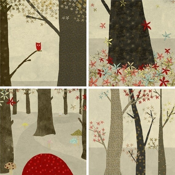 La foret Set of 4 prints
