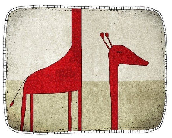 Giraffe - children - digital Illustration - wall art - nursery art print - baby  decor - poster - animal - zoo - red - grey - long neck