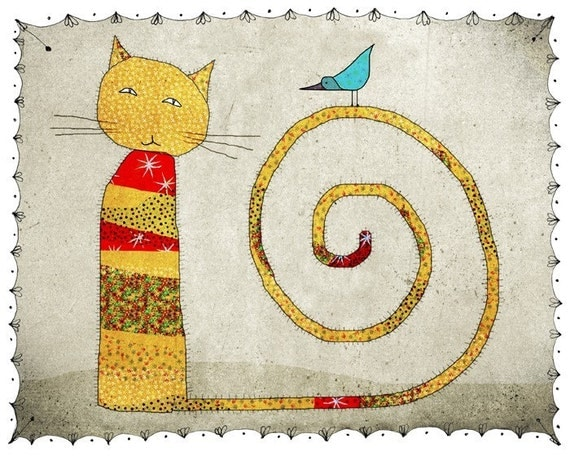 Cat - Print of an original illustration - children - nursery art print - baby  decor - poster - animal - cat and bird - yellow - grey - red