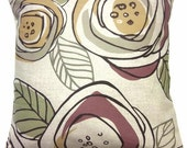 Two Plum Green Gold Gray Natural Pillow Covers Retro Funky Decorative Toss Throw Accent Pillow Covers 16 inch
