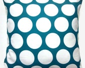 Two Turquoise White Pillow Covers Large Dots Design16 inch