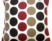 RESERVED for Sara Two Dark Brown Red Tan  White Pillow Covers Large Polka Dot Decorative Toss Throw Accent Pillow Covers 16 inch
