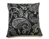 Two Black White Pillow Covers Modern Paisley Decorative Toss Throw Accent Pillow Covers 16 inch
